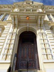 The entrance to the old historic courthouse in Virginia City.