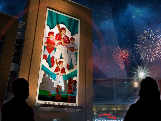 A rendering of what a Blink Cincinnati stop will look like at Great American Ball Park.