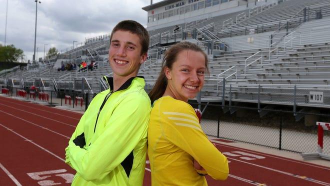 Distance runner Josh Evans, a senior at Linn-Mar, and Linn-Mar sophomore Stephanie Jenks set records at Drake Stadium during the 2014 Drake Relays last month.