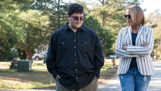 Katie Couric, right, talks to transgender Virginia teen Gavin Grimm during the National Geographic Channel documentary, 'Gender Revolution.'