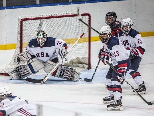 Jake Lakatos (31) makes a save for Team USA at the 20th Maccabiah Games in Israel.