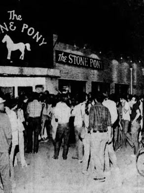 Crowds gather outside the newly opened Stony Pony in