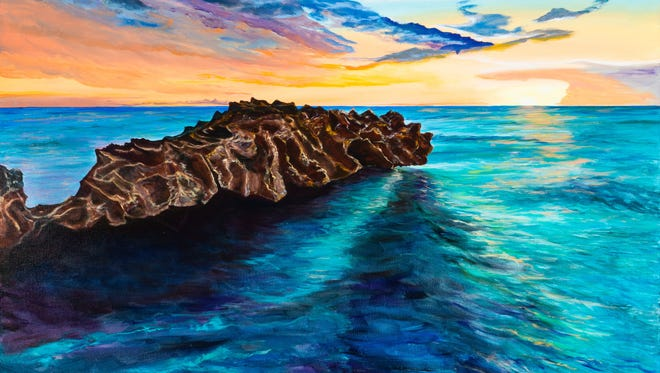 "Pictured is ""Dragon Rock,"" a painting by Tina Nolan Caruso, one of several exhibited at  Juno Beach 'Friends of the Arts' Art Show."