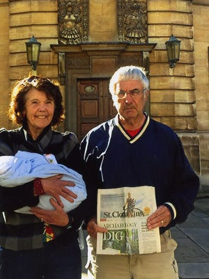 Marilyn and Leo Wirth in Oxford, England with their newest family member