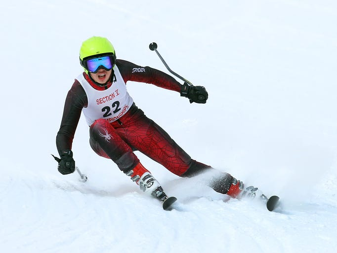 Penfield's Fred Shi during the giant slalom at the Section 5 ski championships at Bristol Mountain.