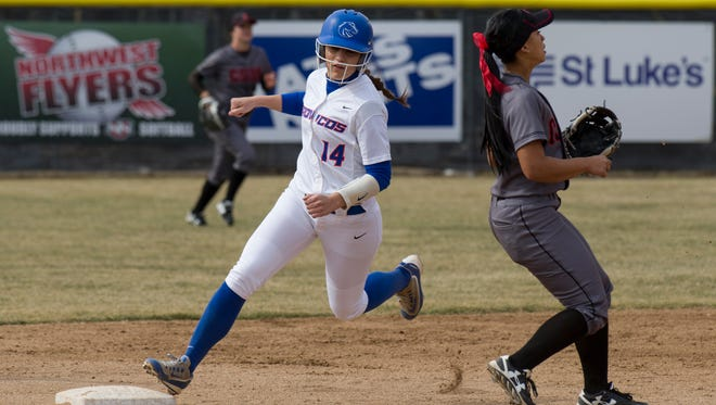 Boise State's Rebekah Cervantes, a former Redwood High standout, sprints to second base against Cal State Northridge. Cervantes was recently named the Mountain West Player of the Week.
