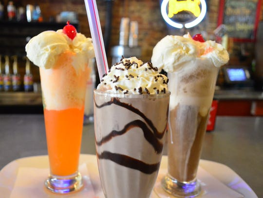 The Orange Whip float, a chocolate milkshake, and Brown