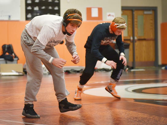 Lennox High School wrestler Tyson Stoebner practices