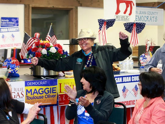 State House District 4 candidate GloJean Todacheene makes an appearance on Tuesday at the San Juan County Democratic headquarters in Farmington.