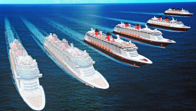 A rendering of the two new Disney cruise ships that will be added to its current fleet of four. The new ships are expected to set sail in 2021 and 2023.