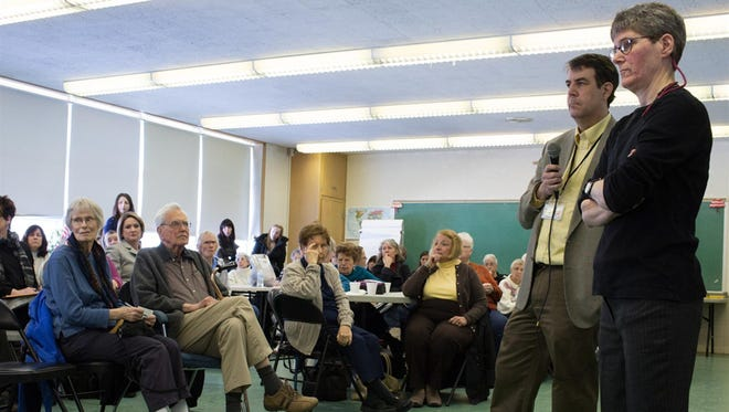 Democrat and Chronicle reporters Sean Lahman and Patti Singer speak at Brighton Senior Program Center on Tuesday, April 5, 2016. Singer and fellow reporter Sean Lahman recently reported on recurring problems at nursing homes in the Rochester area.