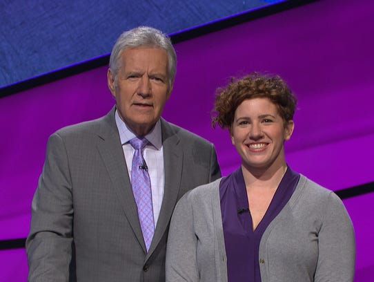Jeopardy host Alex Trebek with Skyler Kelemen, a 2004