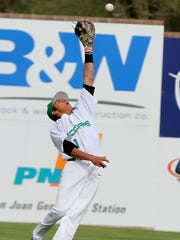 Farmington's David Saldivar makes a leaping catch against