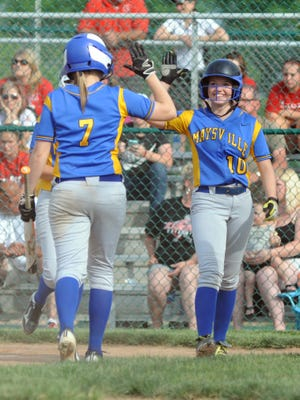 Maysville's Kaylie Farmer (10) high fives teammate Kori Sidwell after scoring a run during the Panthers' 4-3 win over St. Clairsville in the Division II regional semifinals on Wednesday in Pickerington. The Panthers play top-ranked Lakewood at noon today in the finals.