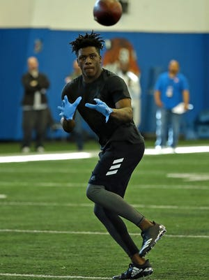 MTSU wide receiver Richie James looks in a catch during the team's pro day at Tennessee State on Monday.