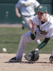 Green Bay Preble senior shortstop Connor Lemmens gloves