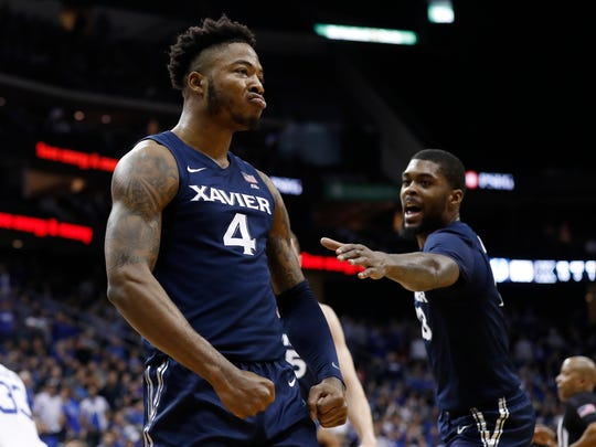 Xavier's Tyrique Jones (4) reacts after scoring against Seton Hall during the first half of an NCAA college basketball game, Saturday, feb. 1, 2020, in Newark, N.J. (AP Photo/Michael Owens)