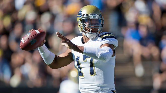 UCLA quarterback Brett Hundley throws a pass against the Colorado Buffaloes on Oct. 25, 2014.