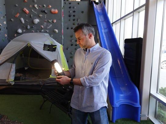 Goal Zero vice-president Bill Harmon with a solar powered