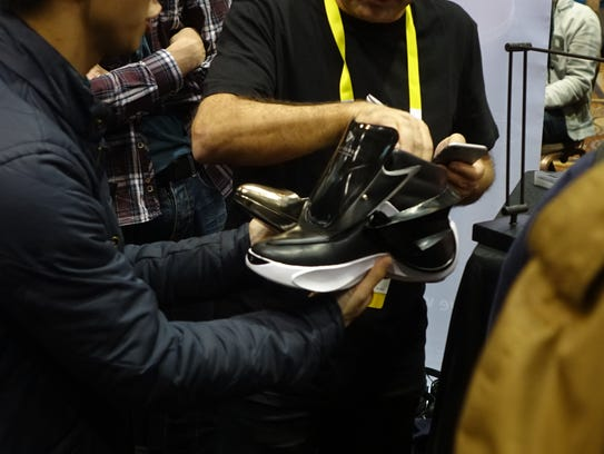 "A ""smart"" shoe on display at CES"