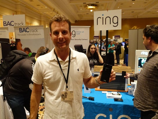 Ring CEO Jamie Siminoff with new Ring Stick-up security