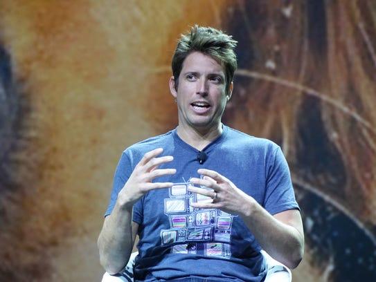 GoPro CEO Nick Woodman speaks during the YouTube presentation