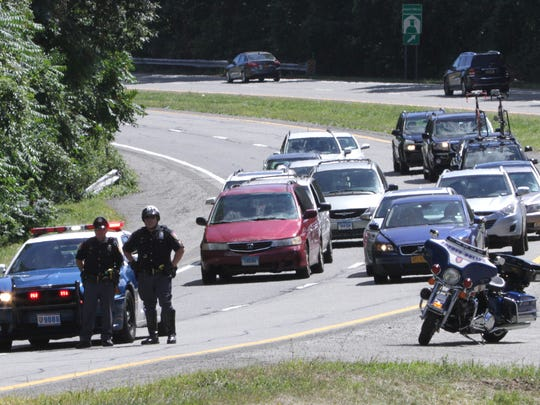 Westchester County Police closed the northbound lanes of Interstate 684 just north of Manhattanville Road in Purchase Aug. 29, 2014 as President Obama's motorcade made its way from the Westchester County Airport to New Rochelle.