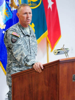 WSMR Brig. Gen. Timothy R. Coffin speaks recently at the WSMR museum during a Vietnam Commemoration. Coffin last week said he hopes to bring as many as 300 new personnel to the post in the next two years.