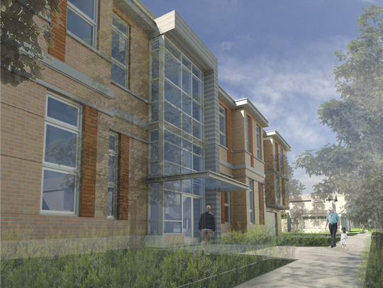 A rendering of DeWitt House, planned for the Old Library
