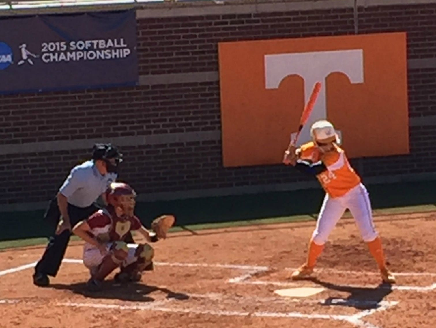 Annie Aldrete bats in the fourth inning of Game 2 of Tennessee's Super Regional against Florida State.