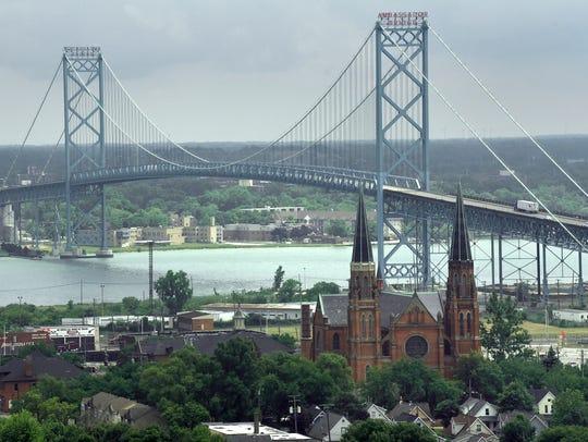 The Ambassador Bridge is seen from the 13th floor of