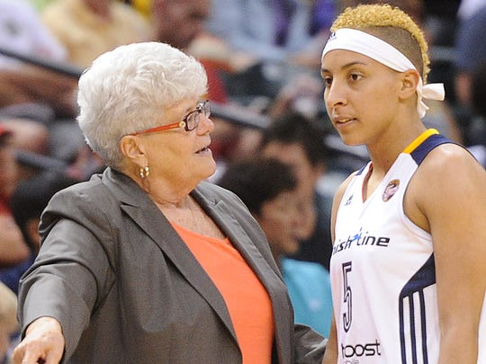 Layshia Clarendon (right), a guard for the Indiana Fever, says if she weren't a professional baskeball player she'd like to be a social worker. Here is Clarendon with Fever coach Lin Dunn.