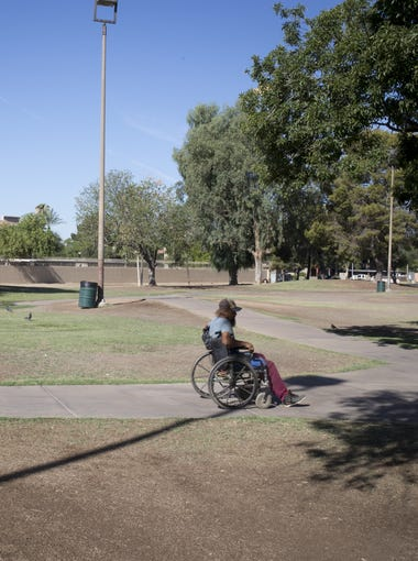 Bobby Jones, 49, on June 27, 2018, at Bonsall Park, 59th Avenue and Bethany Home Roads, Glendale. Jones has been homeless for six years.