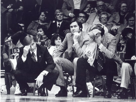 University of Evansville coaches having a bad night during the 1978-79 season. This photo was taken on Nov. 29, 1978.