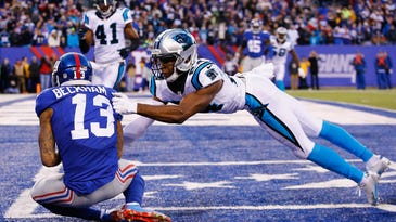 Giants wide receiver Odell Beckham Jr. scores a game-tying touchdown against Panthers cornerback Josh Norman last Sunday at MetLife Stadium. The Giants will be without their top playmaker Sunday night against the Vikings.