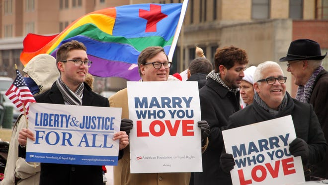 Supporters of same-sex marriage demonstrate outside federal district court in Norfolk, Va., earlier this month.