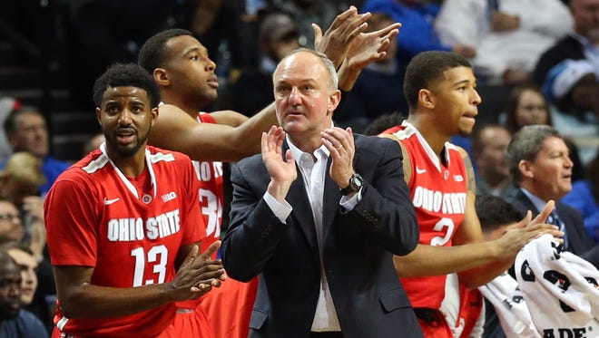 Ohio State Buckeyes head coach Thad Matta and bench react during the first half against the Kentucky Wildcats at Barclays Center.