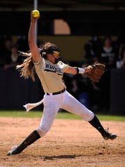 Abilene High pitcher Kaylen Washington (8) throws a pitch during the bottom of the sixth inning of the Lady Eagles' 6-3 win on Wednesday, March 29, 2017, at Abilene High School.