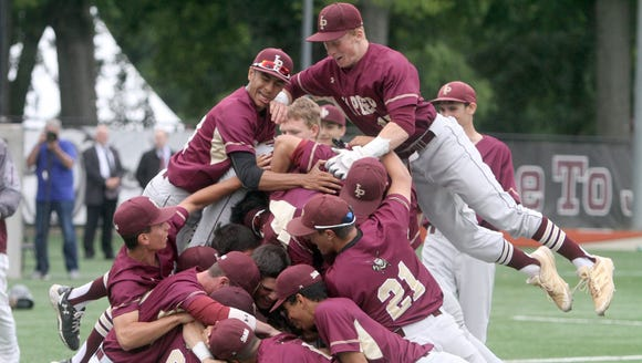 Iona Prep celebrates after defeating Fordham Prep 4-1