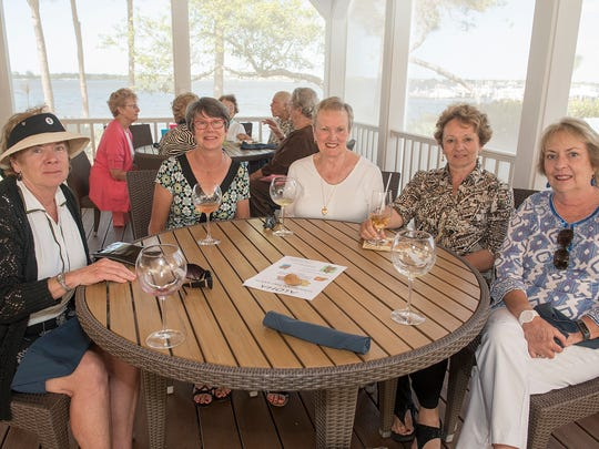 Rosemary Brewer, Lois Fraser, Adie Coy, Angelina Sparler and Diane Spencer at  Sail Away Luncheon at Harbour Ridge Yacht & County Club.
