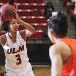 ULM's Alayshia Hunter scored her 1,000th career point in a loss to Litte Rock on Thursday.