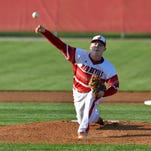 Jeffersonville's Ian Ellis pitches in to the New Albany side during their game in Jeffersonville, In., April 22, 2015.