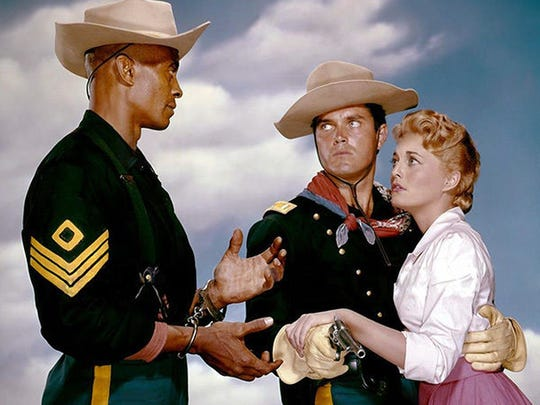 Publicity still of Woody Strode, Jeffrey Hunter and Constance Towers in 'Sergeant Rutledge'