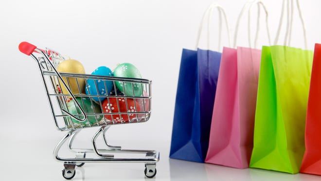 Shopping cart with Easter eggs.
