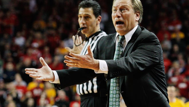 Michigan State Spartans head coach Tom Izzo reacts during the game against the Nebraska Cornhuskers in the second half at Pinnacle Bank Arena. Nebraska won 79-77.