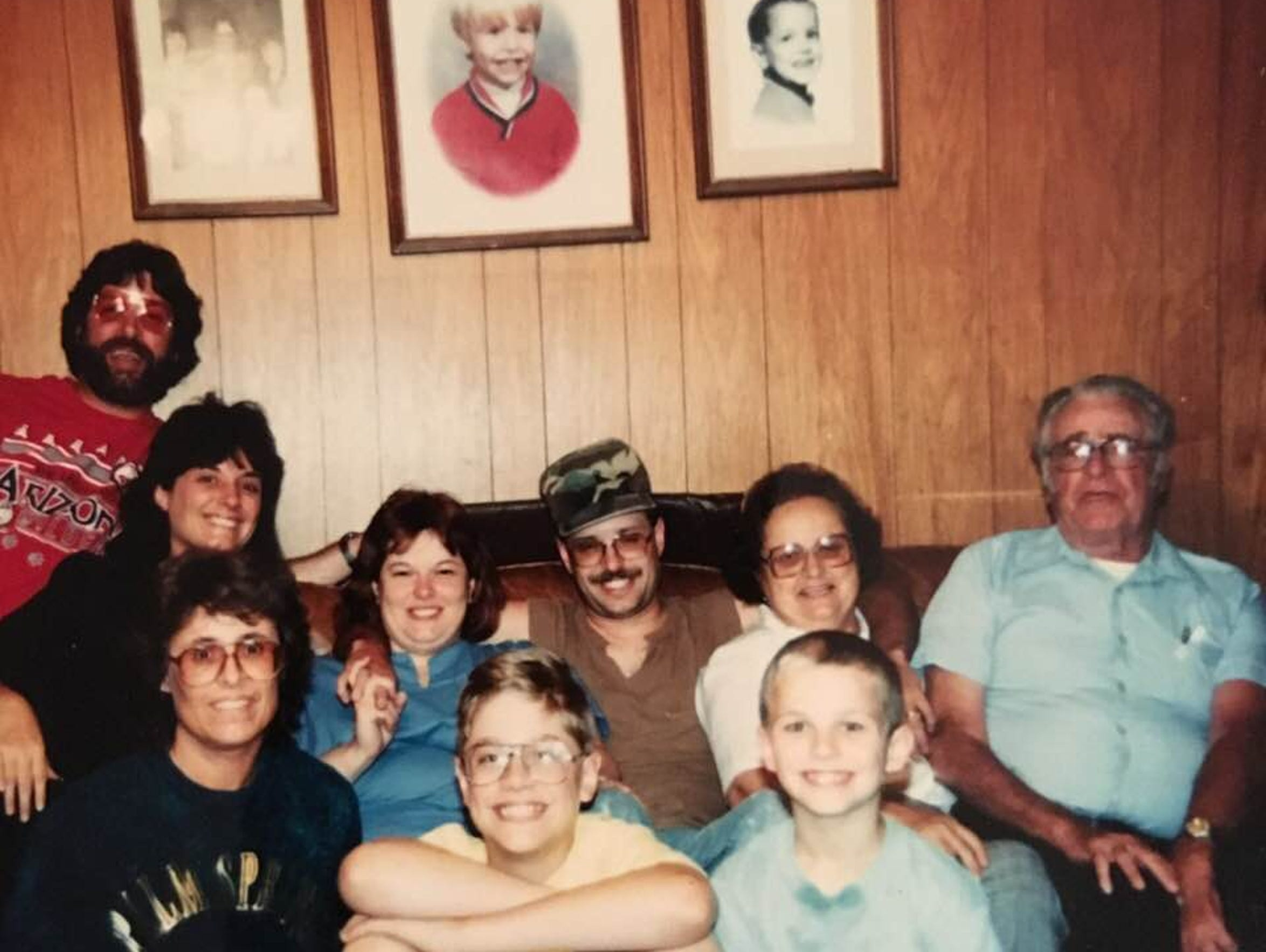 Helen is surrounded by family in an early 1990s photo,