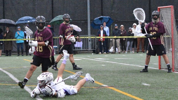 Fordham Prep's Thomas Marra gets a pass off from his