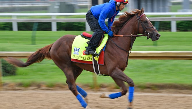 May 4, 2017; Louisville, KY, USA; Kentucky Derby entrant Irish War Cry exercises during morning workouts at Churchill Downs. Mandatory Credit: Jamie Rhodes-USA TODAY Sports