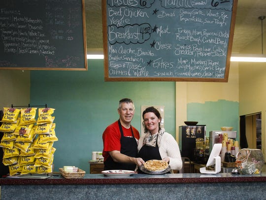 Kenneth and Kelly Lehto of Auntie's Deli in downtown Eaton Rapids. They specialize in homemade pastries, coffee, pies, and soups and sandwiches.
