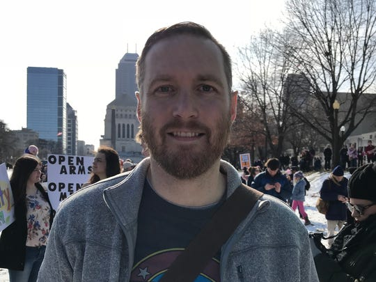Justin Smith, from Greenwood, attended the Women's March on Washington — Indiana on Saturday, Jan. 20, 2018.